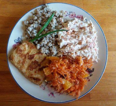 Ziołowa kasza pęczak, panierowane tofu i 2 surówki: z marchewki, jabłka i pomarańczy z rodzynkami i oliwą oraz z selera, marchewki, jabłka, czerwonej cebuli i śmietany.