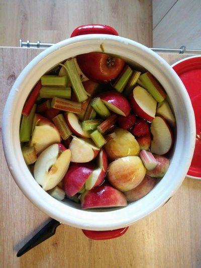 Kompot z jabłek, rabarbaru, truskawek, z dodatkiem cynamonu i imbiru. Na ostudzeniu posłodzony miodem.